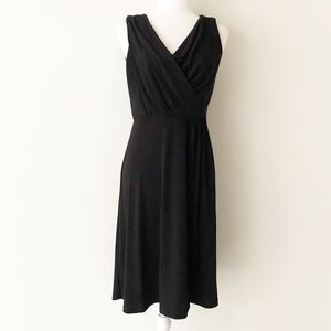 Rafaella | Black Drape-Neck Midi Dress